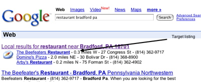 Google Map results for theBeefeatersRestaurant.com